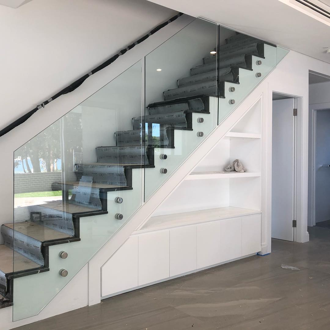 Frameless Glass Balcony Balustrade in a stainless steel polished finish